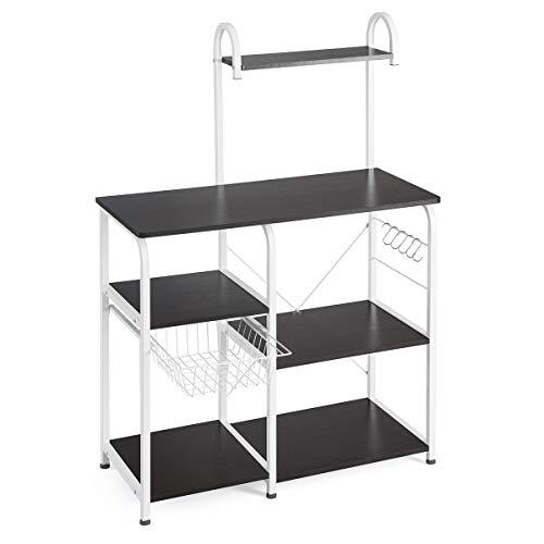 Mr IRONSTONE Kitchen Baker's Rack Utility Storage Shelf 35.5' Microwave Stand 3-Tier+4-Tier Shelf for Spice Rack Organizer Workstation(Dark Brown)