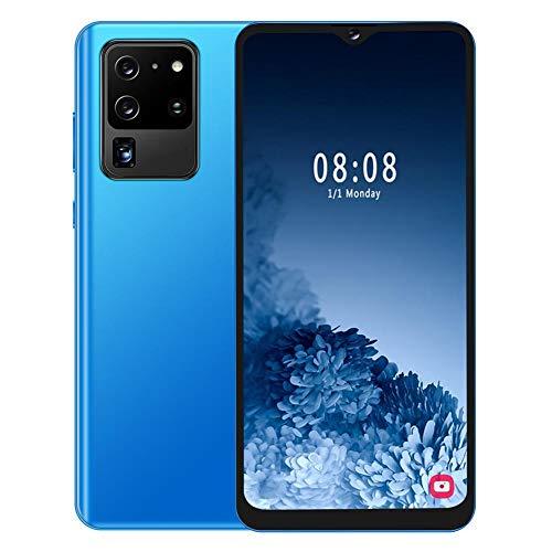 Goshyda Smartphone, S30U + 4 + 64G Teléfono móvil Inteligente con identificación Facial de Doble Tarjeta de 6.7 Pulgadas con Pantalla táctil de 5 Puntos, para Android 9.1, Azul(Enchufe de la UE)