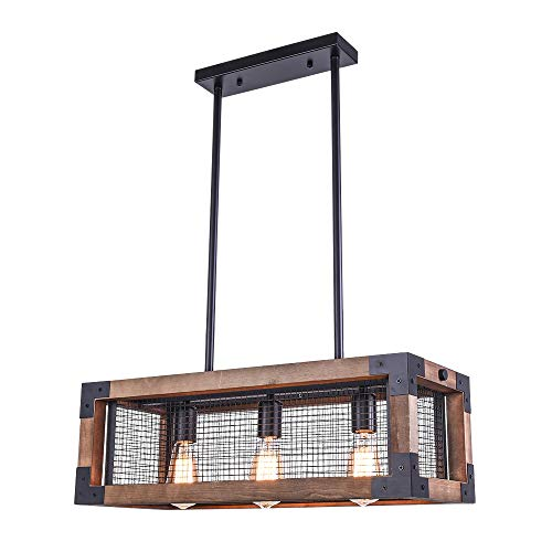 OYIPRO Industrial Kitchen Island Light, 3 Lights Chandelier Farmhouse Hanging Fixture Retro Ceiling Light Rectangular Rectangle Wooden Metal Caged Gua