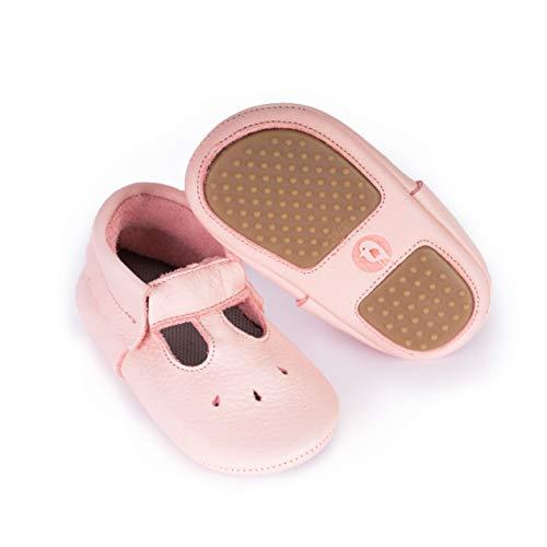 YugYug Krabbelschuhe für Baby (Mary Jane) - Antirutsch Baby Schuhe mit Noppen, Lauflernschuhe für Mädchen, Lederschuhe mit Kautschuk Sohle in Größe: 20, Farbe: Rosa