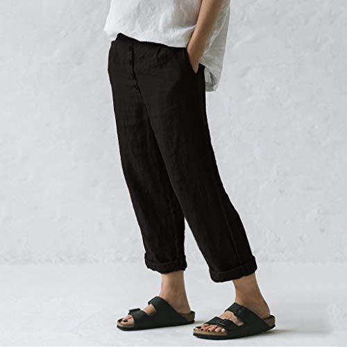 RISTHY Pantalones de Lino Tallas Grandes Holgados Recto Pantalon Largo Mujer Casual con Botones Ideal para Verano
