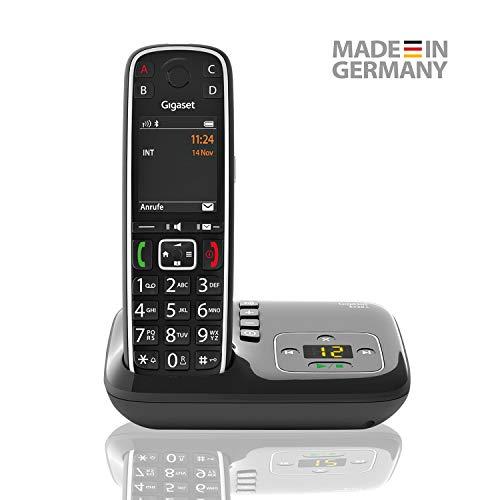 Gigaset E720A elegantes Seniorentelefon mit Anrufbeantworter und praktischen Bedienungshilfen (DECT Telefon mit Rufnummeransage, Bluetooth, SOS Funktion, einfacher Bedienung) -Made in Germany- schwarz