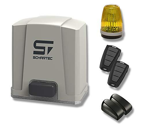 Schartec Schiebetorantrieb Jet 500 SL-Set bis 5 m Breite - Inkl. 2 Handsender, 1 Lichtschranke, und 1 Signalleuchte - Torantrieb - Schiebetor - Hoftor - 5000 N