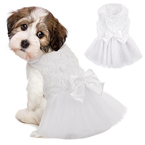 IDOMIK Dog Wedding Dress Puppy Bowknot Princess Skirt  Pet Bride Pure White Lace Tutu Formal Dress Flower Bubble Skirt Tulle Ruffle Sundress Vest Shirts  Birthday Party Costume for Small Dog Apparel