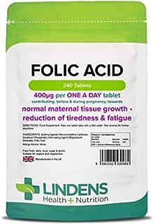 Lindens Ácido fólico 400 mcg en comprimidos   240 Paquete   Apoya la formación normal