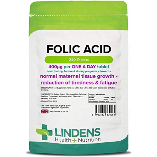 Lindens Folic Acid 400mcg Tablets | 240 Pack | Supports Normal Blood Formation, Function of The Immune System, contributes to The Reduction of Tiredness & Fatigue