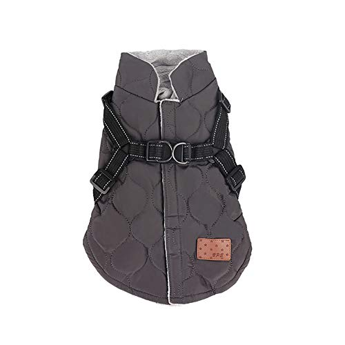 Pet Reflective Warm Cotton Vest with Chest Strap Outdoor Warm Jackets Winter Windproof Coats Harness Cold Weather Coat for Small Medium Dogs and Cats,Gray,S