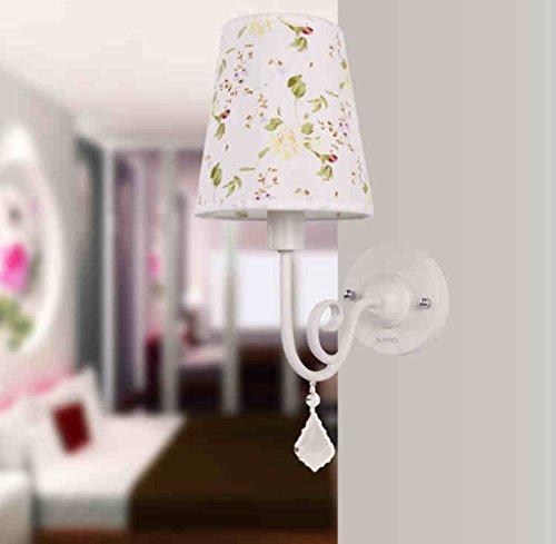 DLewiee Style Européen Simple Fer Tissu Led Applique Salon Lampe Aisle Lampe moderne Chambre Lampe de chevet Lampe Balcon Escalier Eclairage