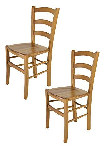 Tommychairs - Set 2 sedie modello Venice per cucina bar e sala da pranzo, robusta struttura in legno di faggio color rovere e seduta in legno