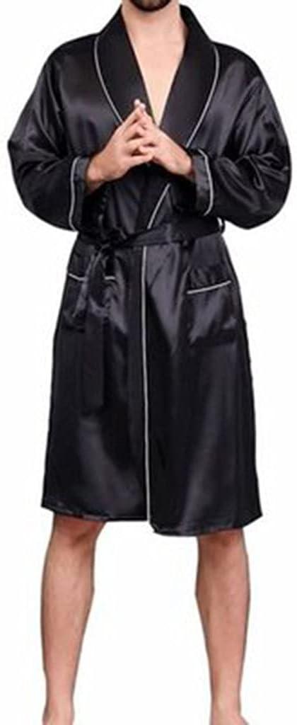DEWUFAFA Bathrobe Men Ladies Night Gown Homewear Pyjama Nightwear (Color : Black, Size : XX-Large)