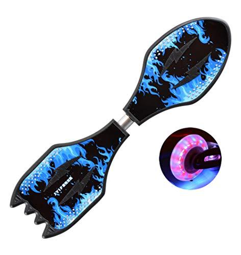 HHXWU Skateboard-Drache-Boot Zwei Räder Zwei Rad-Skateboard-Schwingen-Skateboard Rocket Board - Blaue Flamme