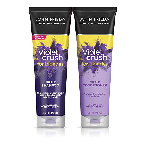 John Frieda Violet Crush Purple Shampoo and Conditioner Set, 8.3 Ounce, Neutralizes Brassy Tones in Blonde Hair, Safe for Color Treated Hair, with Violet Pigments