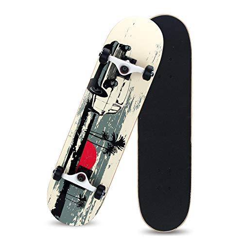 Skateboards-Complete 31'' Komplett Board, Holzboard, 8 Schichten Ahornholz, bereits fertig montiert, Skateboard für Kinder, Mädchen und Junge,B