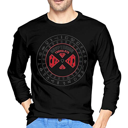 Kryptonian Translator Classic Men's Cotton Long Sleeve T-Shirts Black Small Gifts