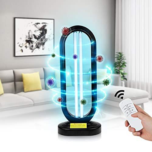 Lámpara de esterilización UV 50W con control remoto, lámpara germicida ultravioleta con desinfección de tubo de cuarzo de ozono Desinfectante UVC LED para el hogar