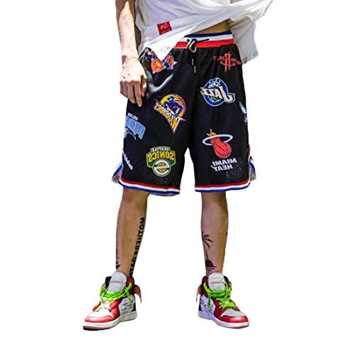 Barrageon Herren Sommer Basketball Shorts aus Atmungsaktives Mesh Stoff, Straßenmode Shorts für Jugendliche und Jungen, Drucken Kurze Hose Lose Sport Joggen Shorts,Schwarz-XL