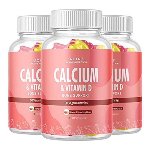 Azani Active Nutrition Calcium & Vitamin D Bone Support Gummies for Adults & Kids |Healthy diet supplement for strong bones (Mango & Strawberry Flavour) – 90 vegan gummies