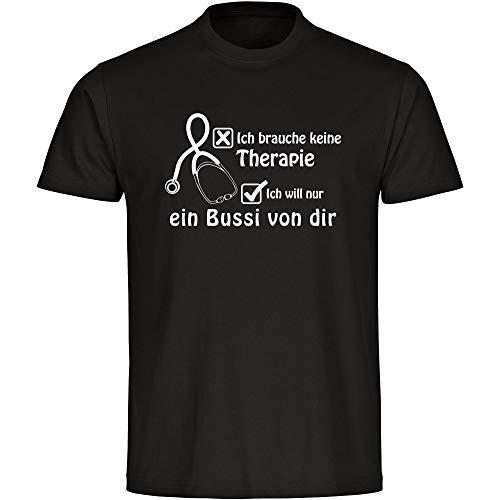 T-shirt Ik heb geen therapie ik wil alleen een bussi van jezelf zwart heren maat S tot 5XL - grappig grappig spreuken party funshirt