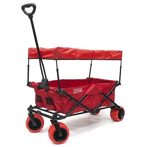 Creative Outdoor Collapsible Folding Wagon Cart for Kids and Pets | All Terrain | Removable Canopy Sun Shade Included | Beach Park Garden Sports & Camping | Red