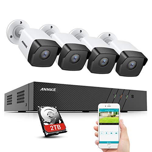 ANNKE 5MP Ultra HD PoE Überwachungskamera Set, 8CH 6MP NVR mit H.265+ Videokomprimierung, Wasserdichte 5MP Kameras mit EXIR-LEDs, App-Push-Alarm, Fernzugriff