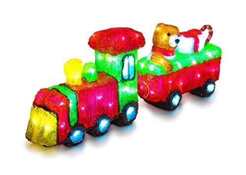 LED Universum - LED Acryl Figur Weihnachtszug mit Waggon für Außen Garten IP44 Lok und Anhänger Dekofigur