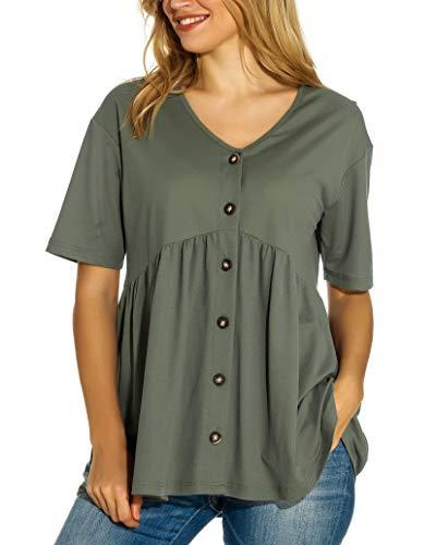 Camiseta de Verano para Mujer, Elegante, Casual, Sexy, Cuello en V, Tira de Botones, Manga Corta Verde Militar. S