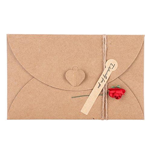 Grußkarte mit Umschlag im Set Vintage Glückwunschkarte mit Rose Blumen Karte aus Kraftpapier Geschenkkarte 10 Stück Faltkarten für Geburtstag Hochzeit Weihnachten Geschenk Einladung