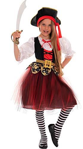 Costume da Pirata Bambina Rosso/Nero/Bianco - piratessa Travestimento di Carnevale Ragazza (10-12 Anni)