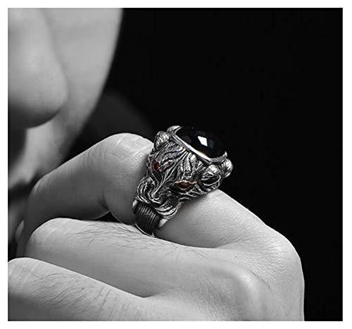 RXSHOUSH Anillo de piedra preciosa para hombre, ónix negro S925 plata cabeza de caballo, anillo de regalo de la suerte para hijo novio, 14#