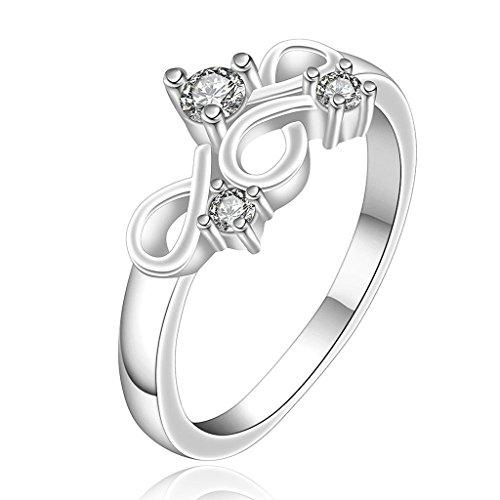 Aeici Damen Ringe Schmuck Weiß Silber Hochzeits-Band-Hohle Blumen-Form CZ Zircon Größe 57 (18.1)