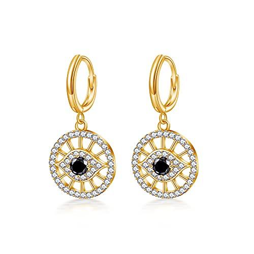 Immobird Pendientes de aro de oro para mujer, plata de ley 925, pequeños pendientes de aro con colgante Evil Eye Longitud: 24 mm