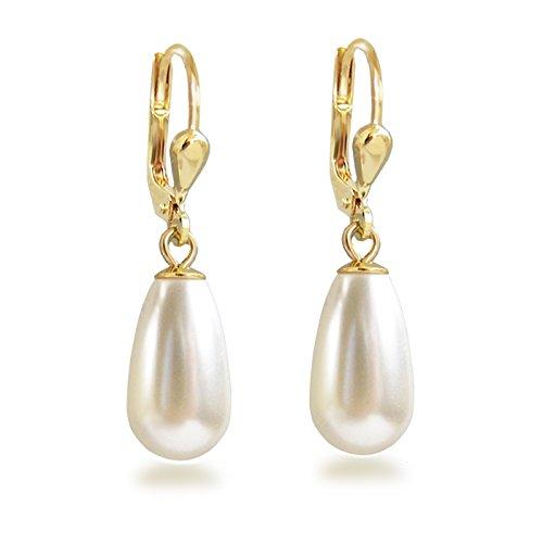 Schöner-SD Gold-Doublé Ohrhänger mit Perlen von Swarovski® Ohrringe vergoldet Tropfen cremeweiß