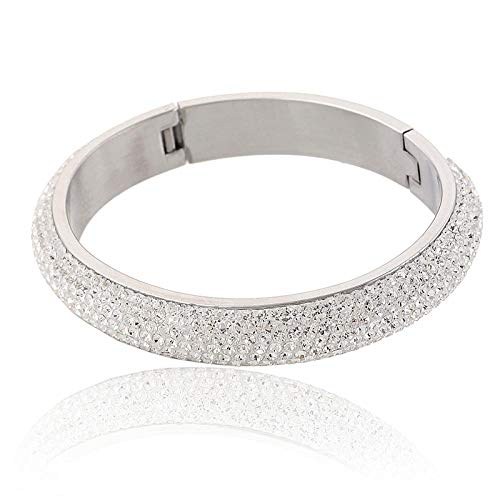 Bracelet Design Übertrieben Queen Fashion Kristall Armreif Edelstahl Pflaster Verschiedene 2 Farben Kristall Armband Armreif Versilbert