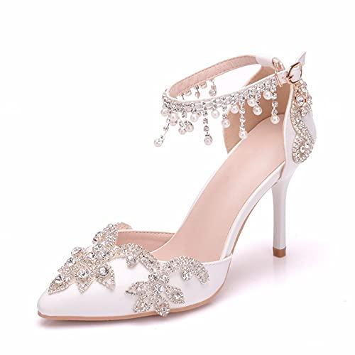 Scarpe da Sposa Sexy da Donna, Tacchi Alti A Punta Nappe Strass Sandali con Perle Scarpe da Festa di Nozze,Bianca,37 EU