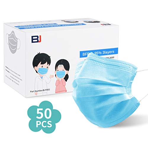 50Pcs Tamaño de Cara Libre desechable Azul 3- PLY Para niños (6- 14 años de edad)