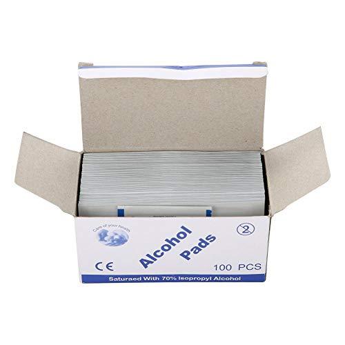 Toallitas esterilizadas desechables de algodón con alcohol, desinfección para viajes en casa, primera para esterilización [100 unidades]