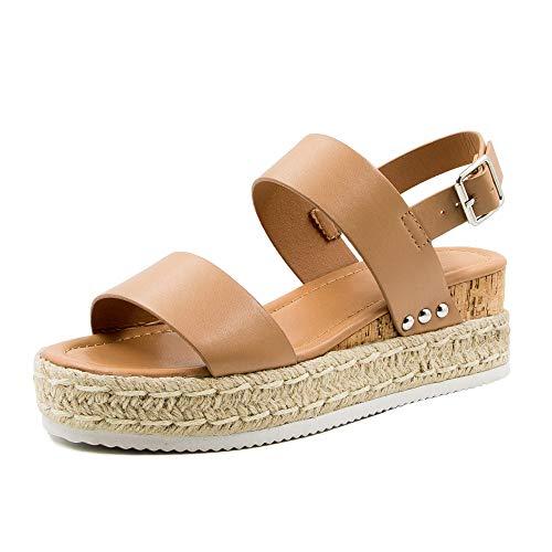 Athlefit Women#039s Espadrilles Sandals Ankle Strap Buckle Wedge Sandal Open Toe Studded Platform Sandals Khaki 41