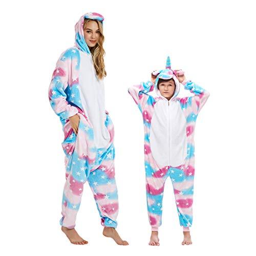 DEBAIJIA Pijama Animal para Niños Niñas Disfrace Franela Traje del Anime Invierno Calentito Pyjamas Navidad Onsie Arcoiris - 95