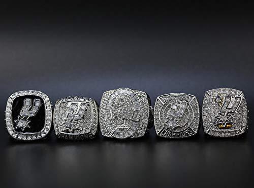 YANGLIXIA Baloncesto Spurs Champions Anillos de 5 Piezas Set Super Bowl Champion Replica Anillos para Hombres Fan 11#