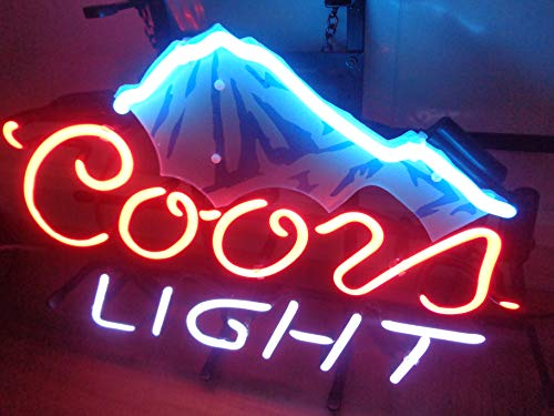 """Coors Light Ice Mountain Acrylic Board Neon Sign 17""""x13"""" Real Glass Neon Sign Light for Beer Bar Pub Garage Room."""
