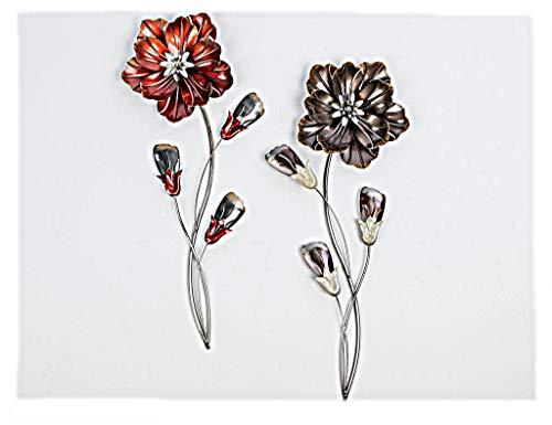 Extravagante Wanddeko Blume aus Metall rot oder braun Höhe 58 cm