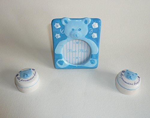 Générique Ensemble Naissance 3 pièces : Boîte à dent + Boîte Boucle + Porte Photo (Ours Bleu)