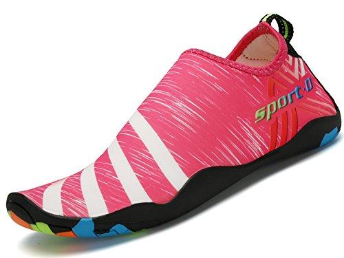 Saguaro Zapatos de Agua Zapatillas de Playa Verano Barefoot Escarpines Antideslizante Calzado de Surf para Hombre Mujer,Raya Rosa 44
