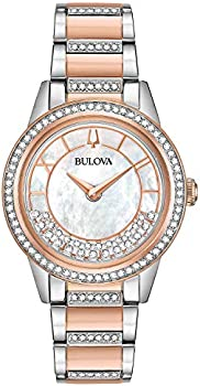 Bulova Crystal Turnstyle Mother of Pearl Dial Two-Tone Ladies Watch