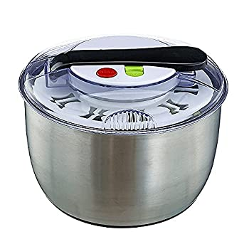 ZXF Salad Spinners Large-Capacity Salad Spinner Stainless Steel Easy To Use Quick Drying Vegetable And Fruit Salad Spinner With One-Button Pause Function