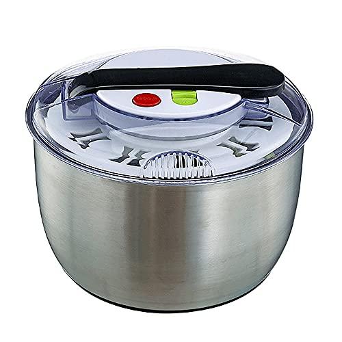 ClearloveWL Essoreuse à salade Acier Inoxydable, Facile À Utiliser, Pour laver et rincer facilement vos légumes, Grande Capacité,Avec Un Seul Bouton Pause Fonction