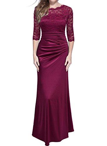 MIUSOL Damen Elegant Abendkleid Rundhals Weinrote Spitzen Brautjungfer Cocktailkleid Vintage Cocktailkleid Langes Kleid Weinrot M