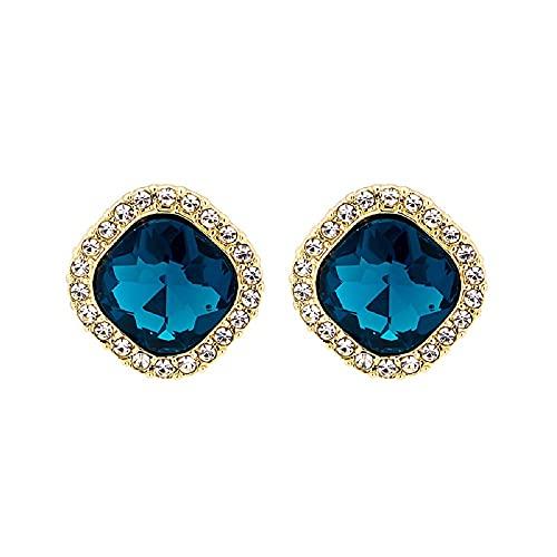 Pendientes cuadrados vintage con diamantes de cristal azul para mujeres y niñas