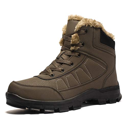 Dannto Mens Hiking Boots Outdoor Backpacking Trekking Boot Mid Ankle Winter Snow Shoes for Men Brown Size 8