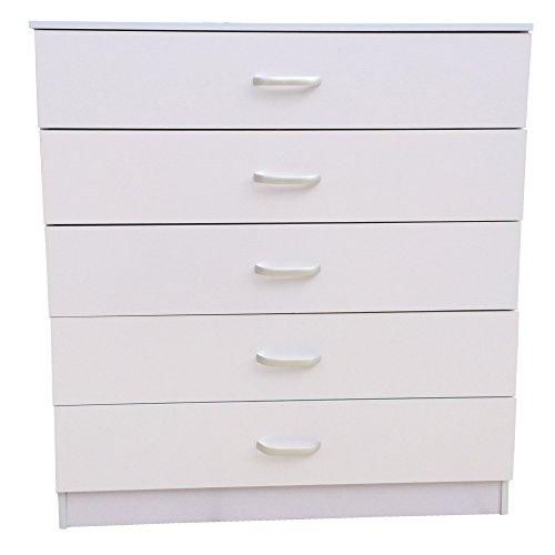 Redstone Kommode 5 Schubladen **Einzigartiges System um EIN Verbiegen der Schubladen zu Verhindern** (Weiß)